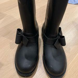 RED Valentino Black Bowtie Rain boots